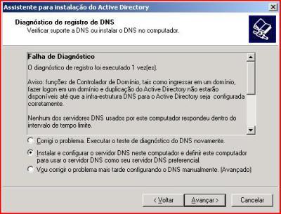 Tela de requisição para instalação do DNS