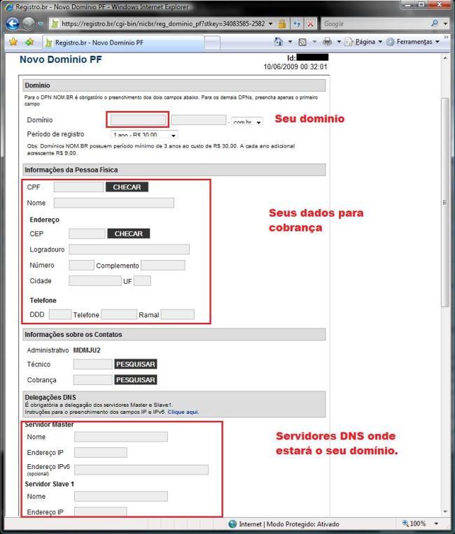 Formulario para registro de domínio